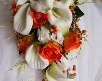 Bride Cascade Wedding Bouquet Set Orange White Calla Lily Roses Berries 12 Piece Set