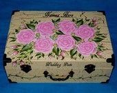Distressed Wood Wedding Keepsake Card Box Personalized Custom Wedding Suitcase Box Memory Box Shabby Chic Card Box Hand Painted Pink Roses
