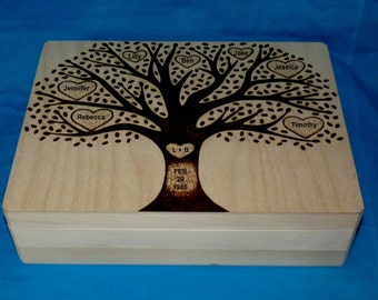 Decorative Wooden Wedding Card Box Wood Burned Tree Of Life Keepsake Box Large Wedding Tree Box Family Tree Anniversary Gift Personalized