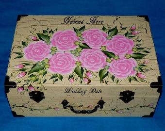Distressed Wood Wedding Keepsake Card Box Personalized Custom Wedding Suitcase Box Memory Box Shabby Chic Card Box Hand Painted Pink Roses