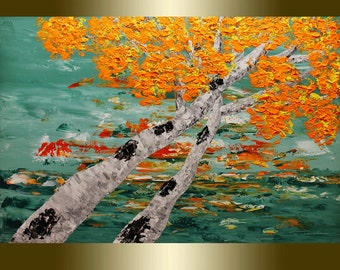 Oil Painting Fall tree  Palette Knife
