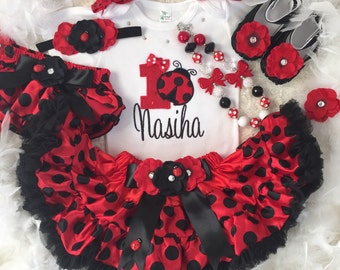 3-pcs set Ladybug Birthday outfit-include Personalised Top,skirt and matching headband