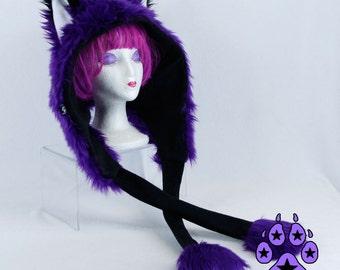 FOX Fur puffet hood that squeeks u choose color theme scoodie kitsune Scarf Hat warm goth handmade mens womens 1886