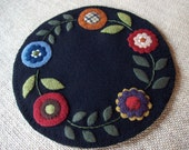 Folk Art Primative Abstract Posies Candle Mat