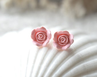 Pastel Blush Pink Rose Stud Earrings. Pink Rose Post Earrings. Flower Rose Stud Earrings.
