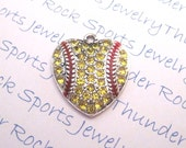 3 Yellow and Clear Crystal Softball Heart Pendants with Red Enamel Laces Antique Silver Team Sports Fan Charms