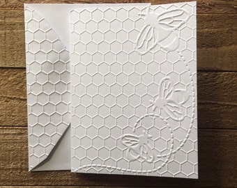 Honeycomb with Bee Cards, Embossed Note Card Set, Honeycomb Cards, Bee Cards, Greeting Cards, Stationery Set, Beehive Card Set