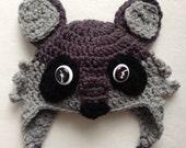 Crochet Baby Hat, Woodland Animals, Crochet Animal Hat, Crochet Raccoon Hat, Baby Accessories, Children's Hats