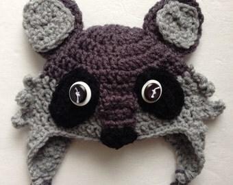 Crochet Baby Raccoon Hat, Woodland Animals, Crochet Animal Hat, Crochet Raccoon Hat, Baby Accessories, Children's Hats