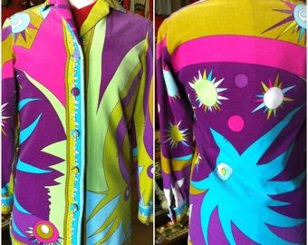 1960s Emilio Pucci Velvet Blouse Jacket Vibrant Print Designer Saks 5th Avenue