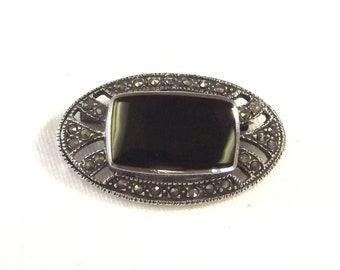 Vintage Sterling Silver Pin - Art Deco Marquesette Brooch - Art Deco Style Jewelry