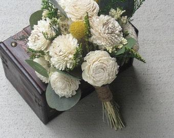 Wedding Bouquet, Sola wood Bouquet, Woodland ivory Bouquet, Bridal Bouquet, Sola flowers, Alternative Bouquet, Rustic Handmade