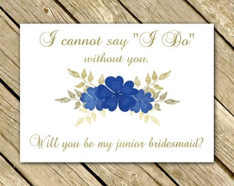 Will You Be My Junior Bridesmaid Proposal GOLD NAVY Blue Wedding Printable 5x7 Instant Download Digital File Jr. Bridesmaid
