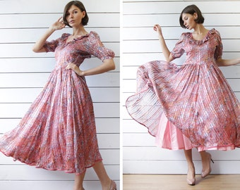 Vintage pink silk sweetheart full pleated skirt ankle length dancing princess maxi dress S
