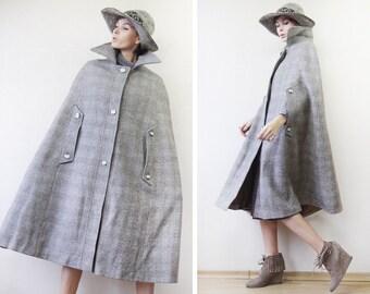 Vintage 70s brown grey plaid wool cape maxi cloak coat S