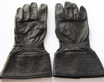 ROUTE 66 Vintage black leather biker motorcycle driver men women gauntlets gloves