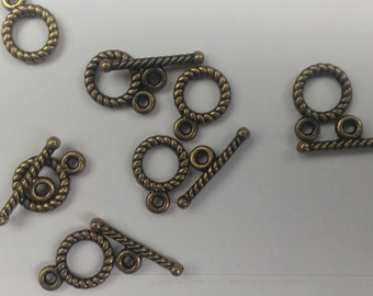 10sets  Antique Bronze Jewelry Toggle Clasp Connector  Charms size 11mm x 9mm