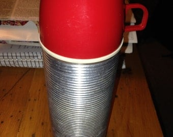 Vintage Ribbed Metal Thermos Pint Size