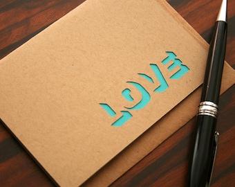Modern Holiday Greeting Card Love (Blank Inside) Neon Teal Cut Design