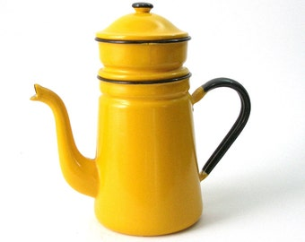 Enamel Drip Coffee Maker 2 Part Bright Mustard Yellow Porcelain Enamel Metal MCM French Country Retro Kitchen Camp VGood Vintage Condition