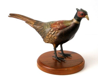 Rare Tom Taber Pheasant Hand Carved Painted Decoy Wood Bird Sculpture Cast Metal Feet Wood Base 12in Hand Painted Signed Wildlife Art
