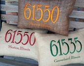 Burlap Zip Code/Post Code Pillow - Embroidered Burlap Zip Code Pillow 12x16""