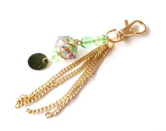 Keychain gold. Green keychain. Christmas keychain. Bridesmaid gift. Wedding gift. Linnepin010