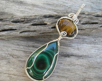 Malachite & Tiger Eye Pendant, .925 Sterling Silver, Midwife Stone, LARGE Wire Wrapped Pendant, Green Brown Pregnancy Pendant, READY To SHIP