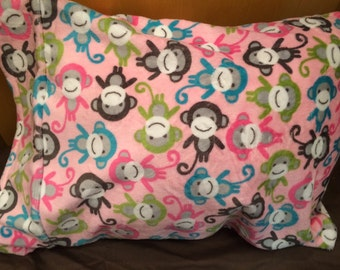 Girl monkey Minky Travel Pillow - free personalization- monkey pillowcase with Pillow - soft minky pillow - toddler pillow