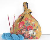 Large Knitting Bag, Vintage Floral Tote Bag,  Knot Style Knitting Accessories Bag