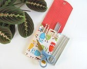 Crochet Hooks Case, Double Pointed Knitting Needles Pouch, Owls Knitting Needle Organizer with Two Pockets, Orange Lining