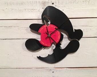 Mario Clock | Vinyl Record • Upcycled Recycled Repurposed • Super Mario • Retro Video Game • Silhouette • Shadow Art