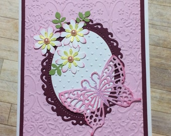 All occasion card, Handmade card, greeting card, Floral design, Butterfly detail, Embossed