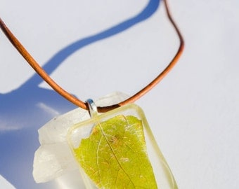Under the Hackberry Tree Necklace- Hand Gathered, Dried & Resin Preserved Earthy, Bohemian, Hippie, Handmade Jewelry