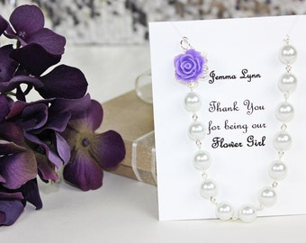 Flowergirl Rose Pearl Necklace, Flowergirl Necklace, Flowergirl Gift, Flowergirl Jewelry, Pick Your Own Color