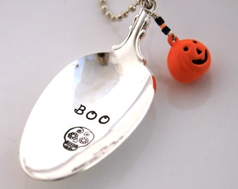 Halloween Spoon Necklace Stamped with - BOO and a SUGAR SKULL with cute Pumpkin - Silverware Vintage Pendant Hand Stamped & Ready To Ship