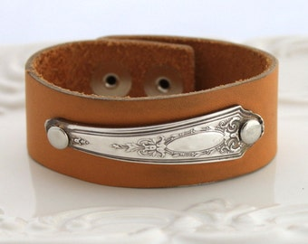 Spoon Bracelet w/ LEATHER & SPOON HANDLE - Shabby Chic and Made in Usa - Leather Cuff Bracelet