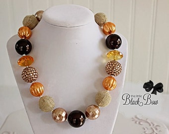 PUMPKIN SPICE Necklace, Fall Chunky Necklace, Brown & Orange Beads, Adult Child Toddler Baby or Adult Size Bubblegum Gumball Girls Jewelry