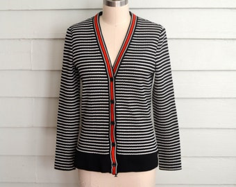 1960s or 70s black white and red cardigan / Small to Medium to Large vintage V neck textured knit sweater / Yves Jennet jumper