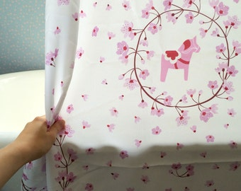 Dala Horse Cherry Blossom Shower Curtain 69x70 in White and Pink