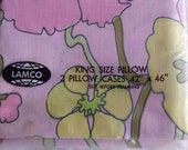 Pair of Groovy Lamco King Size Floral Pillowcase Free Shipping Vintage Pink and Yellow Original Packaging Deadstock Linens Pillow Percale