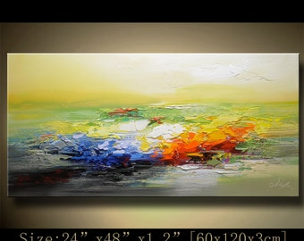 contemporary wall art,Palette Knife Painting,colorful Landscape painting,wall decor,Home Decor,Acrylic Textured Painting ON Canvas Chen 1006
