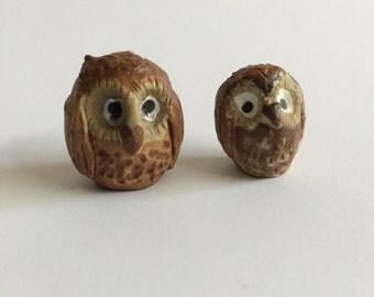 Wee Ceramic Owls for Teacup Garden, Fairy Garden, Woodland Terrarium Set of Two