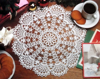 Thread Crochet Doily Pattern, Lace Table Mat, Cotton Doily Pattern, SNOW FLURRY DOILY