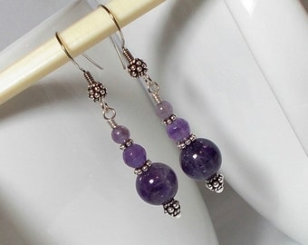 Amethyst Stone Beads With Sterling Silver Dangle Earring Amethyst Earring Sterling Earring Amethyst Stone Earring