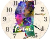 MISSISSIPPI Home State Clock Large 10.5 inch Clock Novelty Clocks Wall Clocks Round Clock, Watercolor State Clock, MS 2156