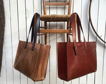 Leather Oak Strap Tote* Large Leather Tote* Brown Leather Tote* Custom Made Leather Tote* Handmade in the USA
