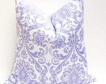 20 x 20 Throw Pillow Cover Purple Pillow Lavender Damask Housewares Decorative Throw Pillow Covers Printed Fabric Both Sides