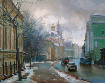 """MOSKOW Russia Church Winter Impressionism Painting on Giclee Canvas 16""""x20"""" with mat frame. Signed By Artist"""