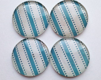 Glass Magnets - Refrigerator Magnets - Striped Magnets - Office Magnets - Decorative Magnets - Turquoise Decor